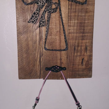 NEW Rustic Cheetah Print Wood Wall Cross with Coat/Purse Holder -- Custom Wooden Cross Coat Rack