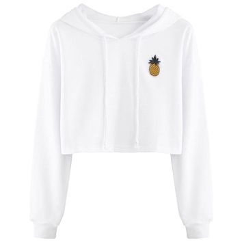 Em's Cute White Pineapple Crop Top Hoodie