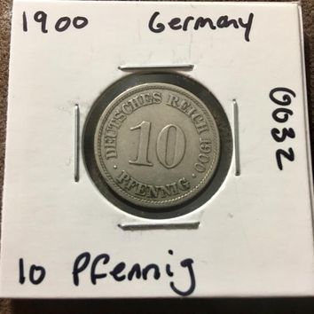 1900 German Empire 10 Pfennig Coin 0032