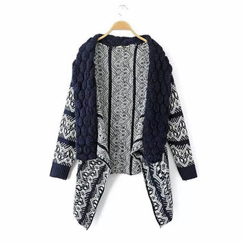 Autumn Winter Womens Casual Knit Sleeve Sweater Coat Cardigan Jacket Top Blouse [8422522497]
