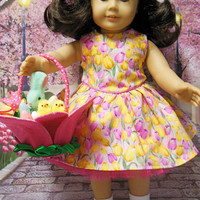 Tulip Garden, Easter dress and basket(18 inch) Fushia pink and yellow OOAK for American Girl doll