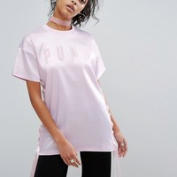 Puma Exlcusive To ASOS Longline Satin Lace Up T-Shirt at asos.com