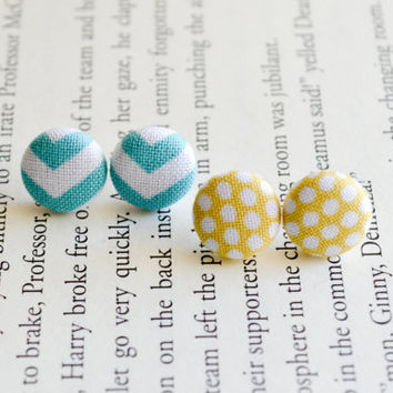 Fabric Button Earrings, Chevron Earrings, Yellow Polka Dots, Party Favors, Cute Accessories, Birthday Gift