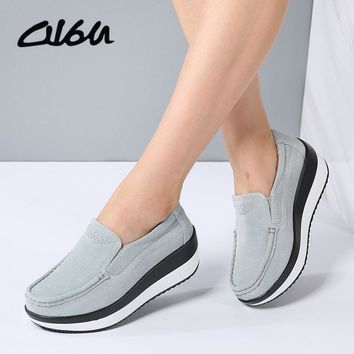 O16U Spring Women Flats Platform Loafers Shoes Female Suede Leather Casual Shoes Slip on Flats elegant Moccasins Creerper Brand