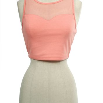 Sexy Sweetheart Neck Sheer Mesh Cropped Sleeveless Cami Tank Top
