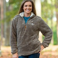 Southern Shirt Company Quarter Zip Sherpa Pullover in Walnut 1V001-214