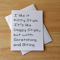 Boyfriend Gift, Naughty Card, Dirty Card, Sexual Card, Kitty Style, Card For Him, Doggy Style, Erotic Card, Birthday Card, Card For Husband