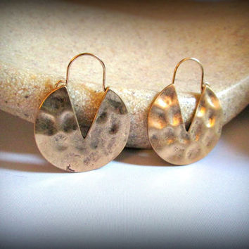 Hammered hoop earring-antique gold hoop earring-bohemian earring-gypsy earring-tribal earring-ethnic earring