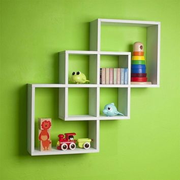 Geometric Wooden Display Shelf with Overlapping Square Design, White-DanyaB