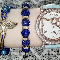 Hello Kitty arm candy/ shamballa and angel wing- blue