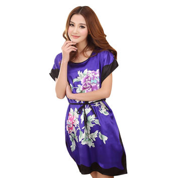 Woman sleepwear Round Neck Printed Women Nightgowns Clothes Summer Autumn Sleep Dresses Women Soft Nightdress