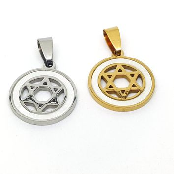 4-2003-h1 Stainless Steel Star of David Pendant with Mother of Pearl Accent. 20mm