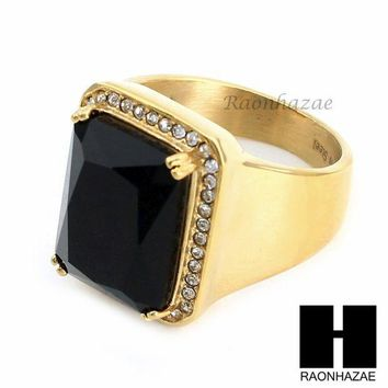 CREYA8C MEN ICED OUT RING 316L STAINLESS STEEL GOLD BLACK ONYX CZ RING SIZE 8-12 SR015BK