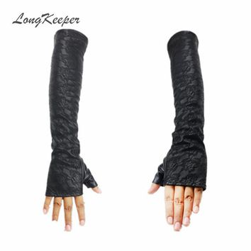 Ladies' Leather Gloves Half Finger Women Winter Gloves Fingerless Lace Sleeves Black Mittens for Party Dancing Elbow Length S203