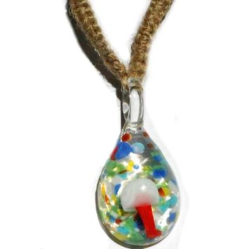 RedOrange Mushroom in Psychedelic Glass with Hemp Necklace