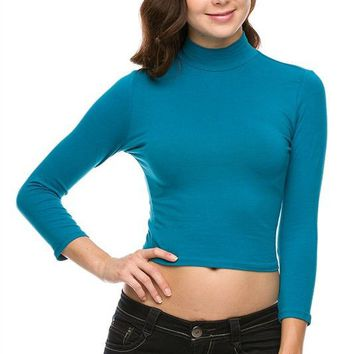 Sexy Solid Colors Mock Neck Turtleneck 3/4 Sleeve Cropped Slim Fitted Shirt Top