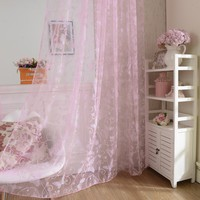 Edal Door Drape Panel Scarf Sheer Voile Butterfly Flock Yarn Window Curtain Pink