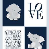 Boys Nursery Quotes Typography Nursery Decor Set of 4 Prints - Elephant in Navy and Gray, Love and Rules for Boys