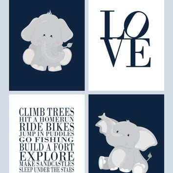 Boys Nursery Quotes Typography Wall Art Print Set of 4 - Elephant in Navy and Gray, Love and Rules for Boys - Multiple Sizes