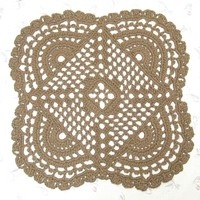Openwork Jute Rug - Mandala Pattern - Handmade Crochet Doily Rug- All Natural and Eco Friendly - 32""