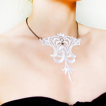 Gothic white lace necklace pearl charm  steampunk art deco vintage fabric art  jewelry vamp fantasy