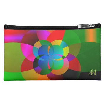 Abstract Cool Cute Fractal Neon Psychedelic Cosmetic Bag
