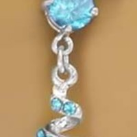 Aqua Lt Blue Cubic Zirconia Swirl Dangle Belly button Navel Ring 14 gauge
