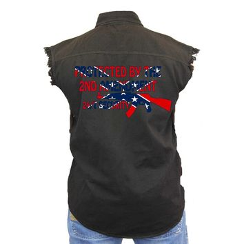 Men's Confederate Rebel Flag Sleeveless Denim Vest Confederate Rebel Flag Protected By Thge 2nd Amendment Biker Shirt