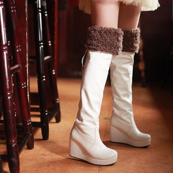 Hot Deal On Sale Waterproof Shoes Wedge High Heel White Boots [9432962634]