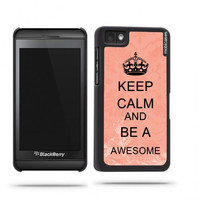 Keep Calm And Be Awesome Coral Floral Blackberry Z10 Case - For Blackberry Z10