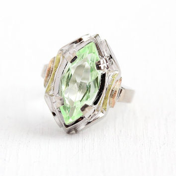 Created Spinel Ring - 10k White Gold Marquise Cut Light Green Stone Statement - Size 5 Late Art Deco 1930s Yellow Rose Tri Tone Fine Jewelry