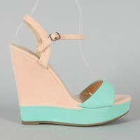 Promise Monashee Two Tone Open Toe Platform Wedge