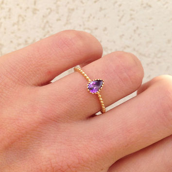 20% off- SALE!! Purpule Amethyst Ring - Drop Ring - Gemstone Ring - February Birthstone Ring - Simple Ring - Gold Ring - Delicate Ring