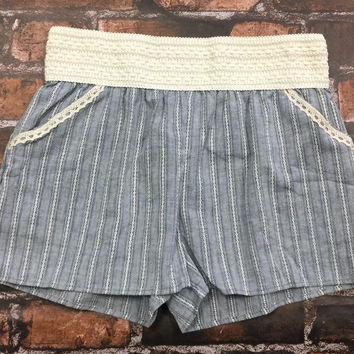 Warmer Days Striped Chambray Shorts