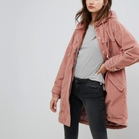 ASOS Cord Parka in Pink at asos.com