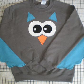 OWL sweatshirt with wings adult sizes customize your colors bird sweater owl shirt