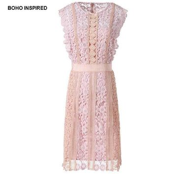 Boho Inspired pink lace dress 3D floral crochet hollow out party dresses sleeveless bodice lined vintage summer dress women 2017