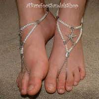 #clear #pearl #silver #barefoot #sandals #anklet #chain #ankle #bracelet #starfish #wedding #bridal #foot #jewelry #sized #adjustable #flat