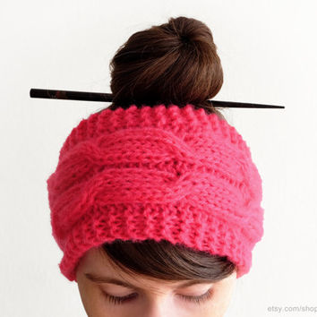 Fuschia pink cable headband,  super soft hairband, bright knit headwrap, fluffy earwarmer, handknit winter staple, cold weather, small gift