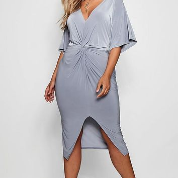 Plus Slinky Twisted Kimono Sleeve Midi Dress | Boohoo