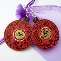 Golden Om Yoga Zen Earrings Jewelry, Handpainted Red Mandala Earrings, Boho Ethnic Indian Hippie Earrings Jewelry, Wooden Modern Earrings