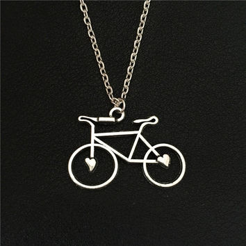 Bicycle With Hearts Necklace