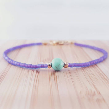Minimalist pastel bracelet // seed bead friendship bracelet // purple and turquoise beaded bracelet // simple beaded bracelet // gemstone
