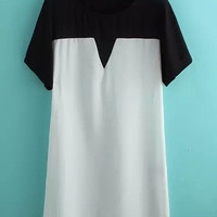 White and Black Short Sleeve Chiffon Dress