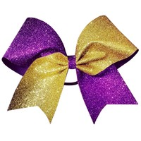 Two color glitter bow. Gold and purple glitter cheer bow