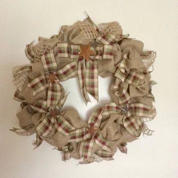 Primitive Burlap Wreath / Farmhouse Wreath / Rustic Burlap Wreath / Rustic Wreath / Mothers Day / Primitive Wreath / Americana