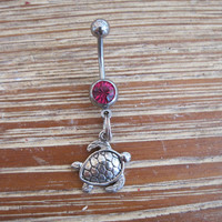 Belly Button Ring - Body Jewelry - Silver Turtle with Dark Pink Gem Stone Belly Button Ring