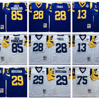 Retired Player Throwback Football Jerseys Mens 28 Marshall Faulk Vintage 85 Jack Youngblood 29 Eric Dickerson 13 Kurt Warner 75 Deacon Jone