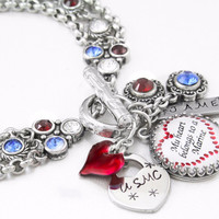 Military Charm Bracelet, Red, White and Blue