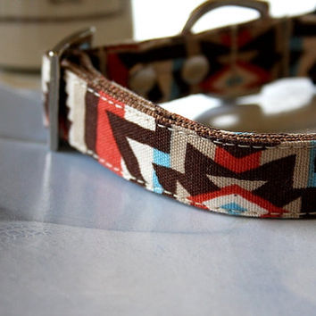 Brown Orange Native American Dog Collar 3/4 Inch Wide